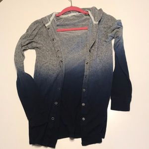 Urban Outfitters Hooded Gray/Blue Ombré Sweater XS